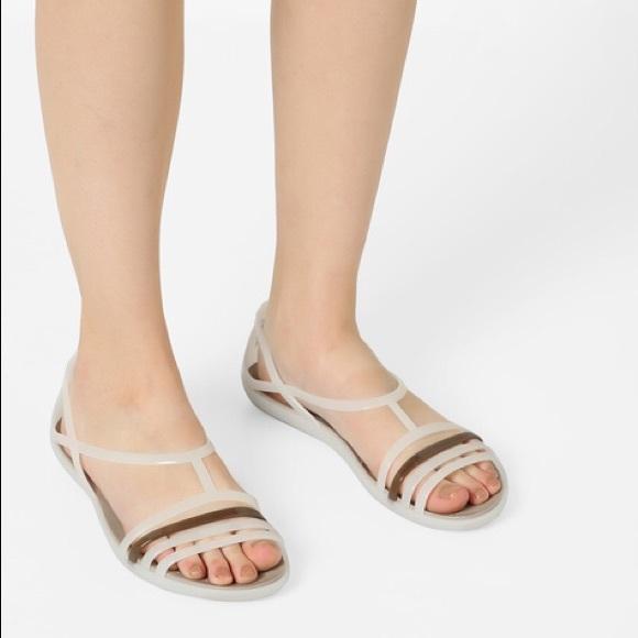 b9db7ff5adeb CROCS Shoes - CROCS Off-White Isabella Croslite Flat Sandals